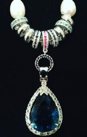 Freshwater pearl and London blue topaz necklace