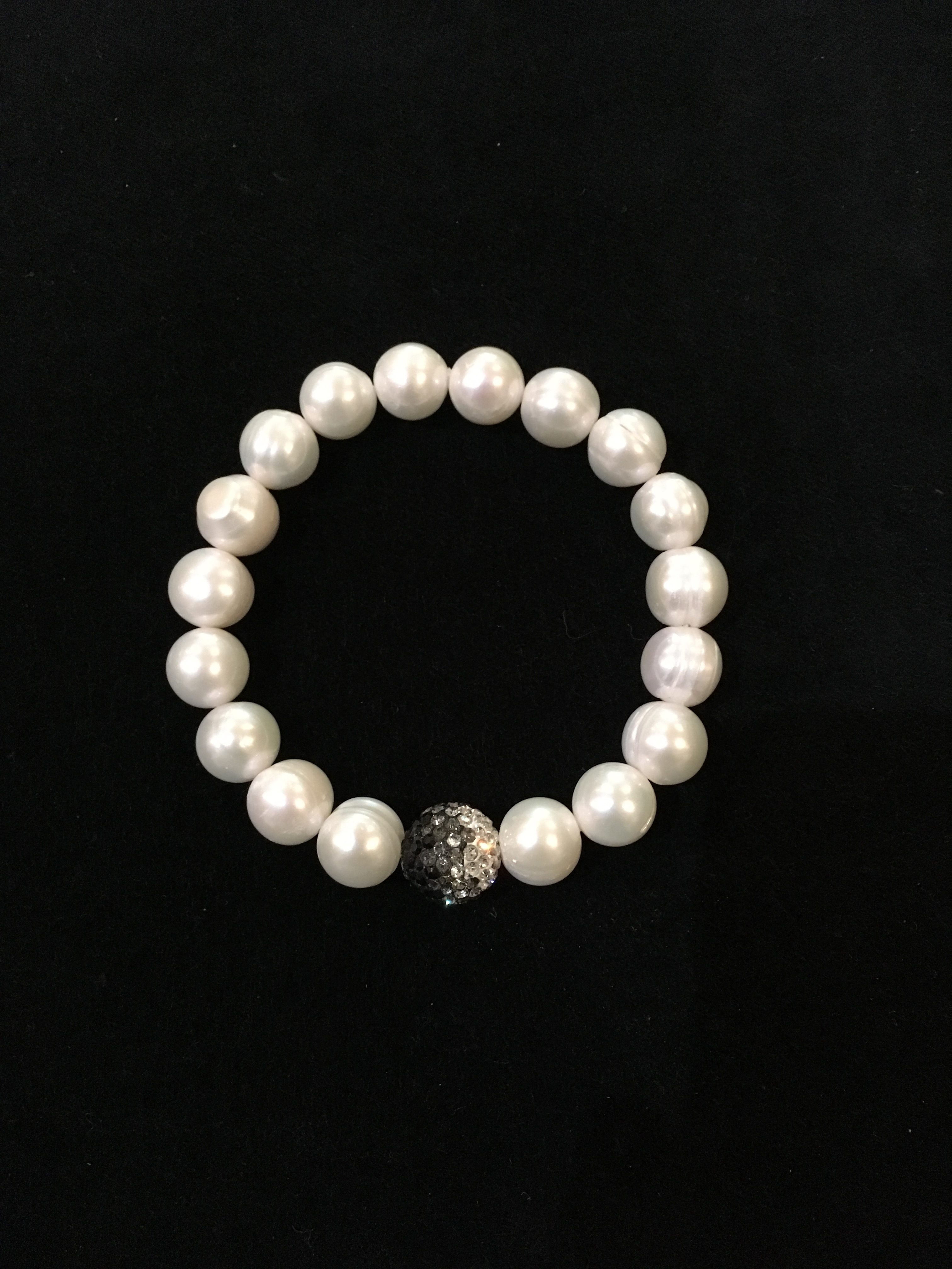 3c831a879e86b Freshwater Pearl & Swarovski Crystal Elastic Bracelet
