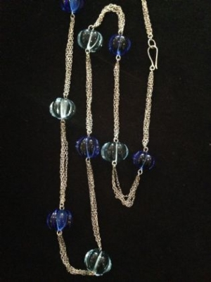 Sparkling Silver & Blue Bead Necklace