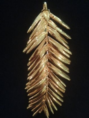 Redwood Needle Gold Pendant