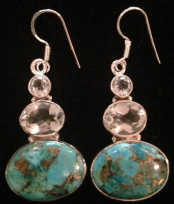 Turquoise Blue Topaz Silver Earrings