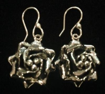 Rose Sterling Silver Hook Earrings