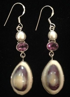 Cowrie, Freshwater Pearl & Amethyst Earrings