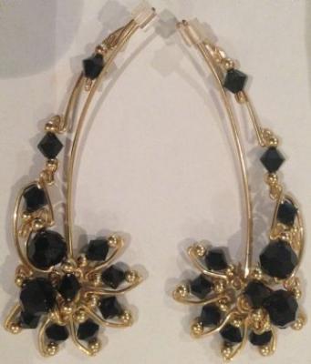 Onyx & Gold Ear Vine Earrings