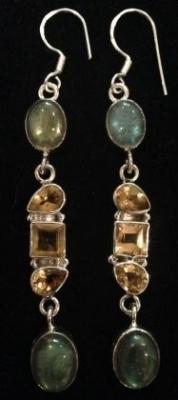 Labradorite & Citrine Sterling Silver Earrings