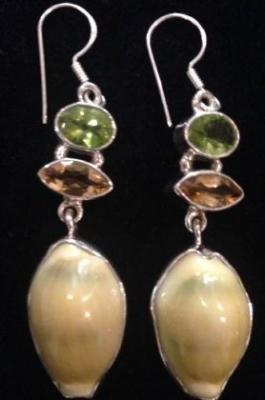 Peridot, Citrine & Cowrie Silver Earrings