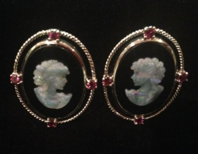 Opal, Onyx & Garnet Cameo Snap Stud Fitting Earrings