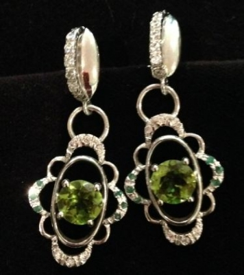 Peridot & Emerald Silver Earrings