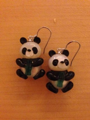 Cute Onyx, Chalcedony & Mother-Of-Pearl Panda Earrings