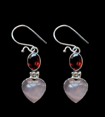 Rose Quartz & Garnet Silver Heart Earrings