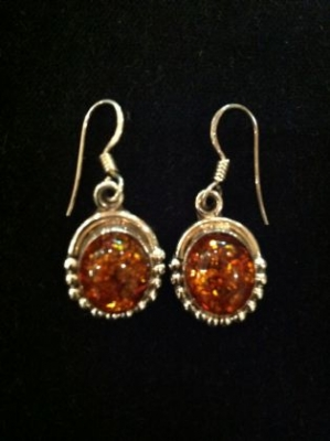 Amber & Sterling Silver Hook Earrings