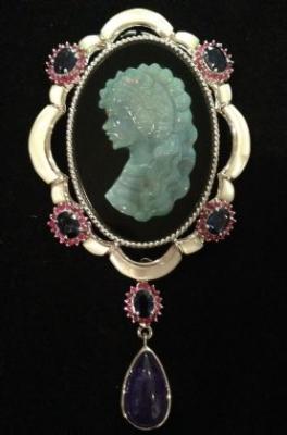 Opal, Tanzanite, Kyanite & Ruby Silver Brooch & Pendant