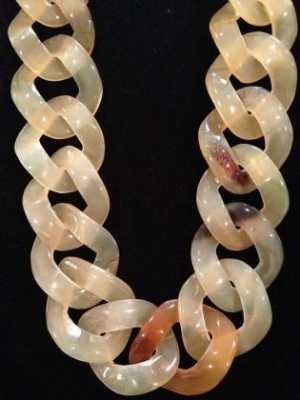 African Horn Yellow Long Link Necklace