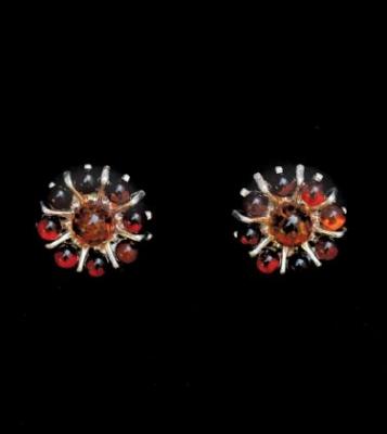 Amber Flower Silver Stud Earrings