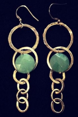 Aventurine Gold Plated Earrings