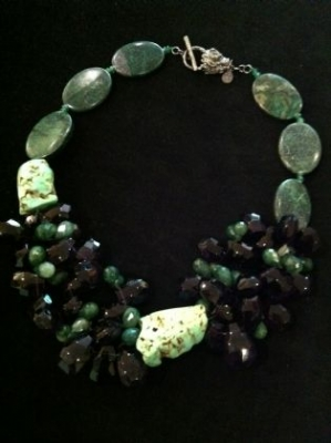 Amethyst, Chrysoprase, African Jade Necklace