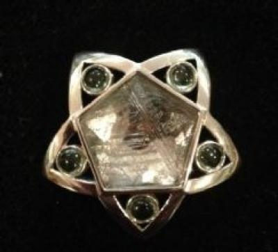 Meteorite & Moldavite Silver Pendant