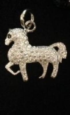 Cubic Zirconia & Silver Horse Pendant