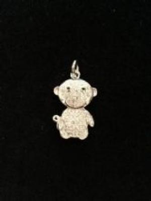 Silver & Cubic Zirconia Monkey Pendant