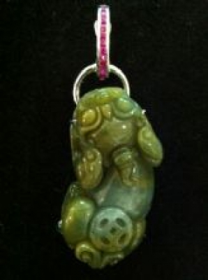 Mythical Creature Jade and Ruby Silver Pendant