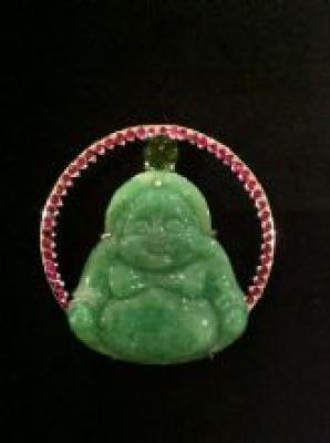 Jade Peridot & Ruby Buddha Pendant
