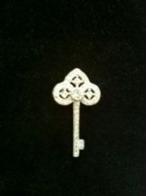 Cute Small CZ and Silver Key Pendant