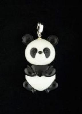 Cute Onyx Panda Pendant