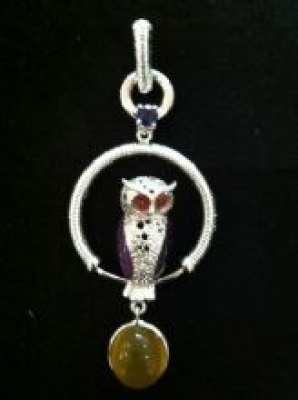 Cute Sterling Silver Gem Set Owl Pendant