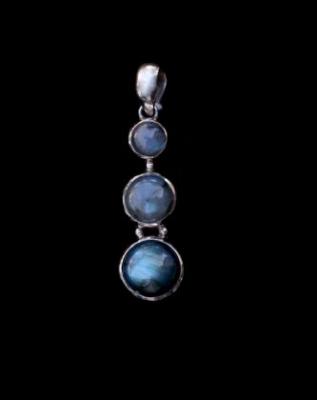 Triple Labradorite Silver Pendant