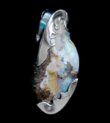 Boulder Opal Artistic Pendant