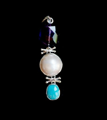 Amethyst, Pearl & Turquoise Pendant