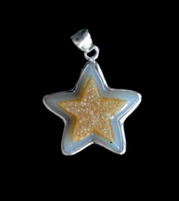 Unique Star Drusy Quartz Pendant