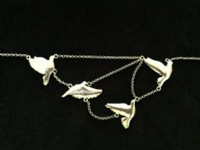 Flying Birds Sterling Silver Necklace