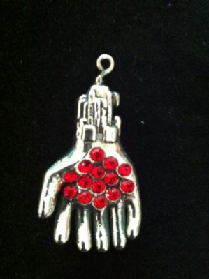 Six Digit Gem Set Sterling Silver Hand Pendant