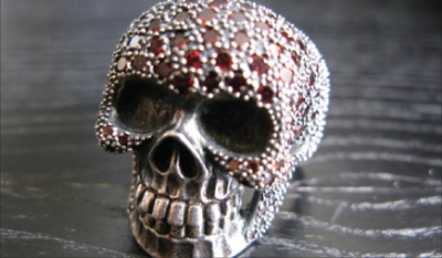 Garnet Pave Silver Skull Ring