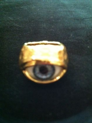 Gold Plated Blue Glass Eye Ring