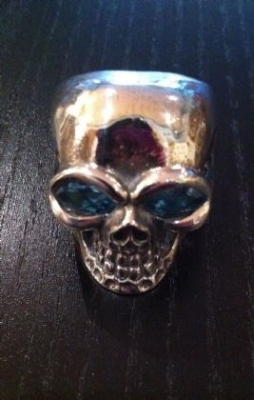 Skull Ring With Blue Topaz Eyes