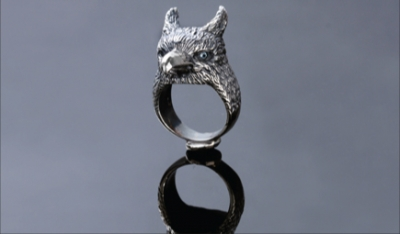Sterling Silver Griffin Ring Topaz Eyes