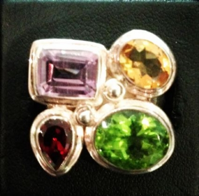 Amethyst, Citrine, Garnet & Peridot Ring