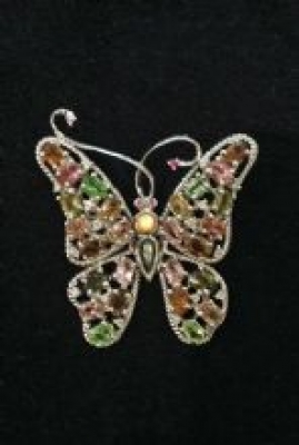 Tourmaline & Silver Butterfly Brooch and Pendant
