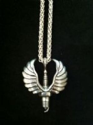 Flying Sparkplug Silver Necklace