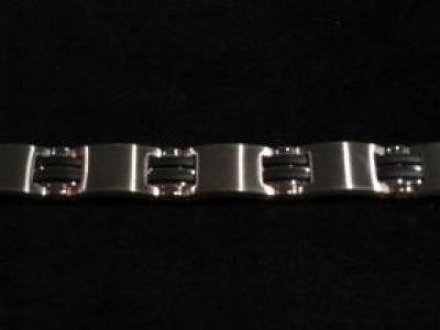 Stainless Steel & Black Bracelet
