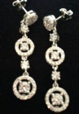 Cubic Ziirconia Earrings With Circle & Squares