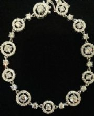 Cubic Zirconia Silver Bracelet With Circles & Squares
