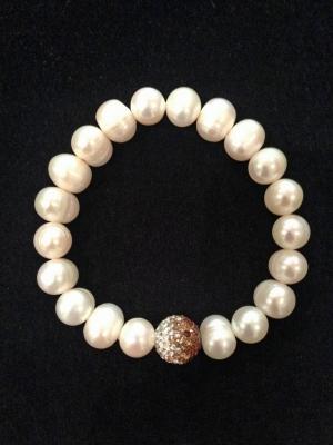 Freshwater Pearl & Swarovski Crystal Elastic Bracelet