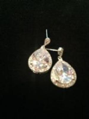 Cubic Zirconia & Silver Pear Shaped Earrings