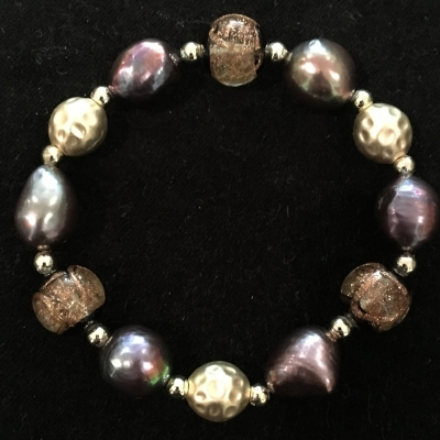 Freshwater Pearl & Bead Earthy Coloured Elastic Bracelet