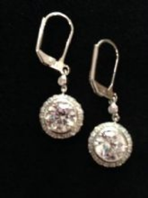 Round Cubic Zirconia French Hook Silver Earrings