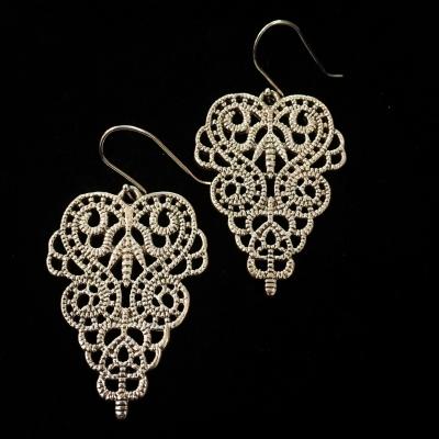 Sterling Silver Fancy Large Scroll Pattern Hook Fitting Earrings