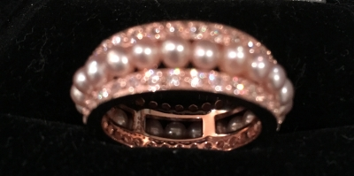 Rose Gold, Pearl & Cubic Zirconia Ring
